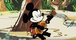 Mickey Mouse playing ukulele
