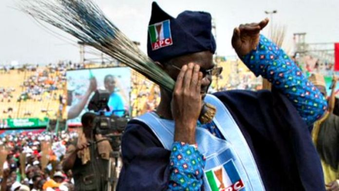 Former Lagos State Governor, Babatunde Fashola, dancing Shoki at a campaign rally