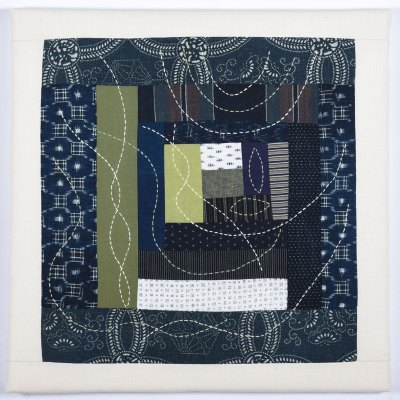 Intuitive Indigo Log Cabin with Olive Greens © Susan Ball Faeder