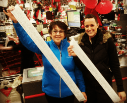 The Salvation Army's Dianne Falkinson and Peel Police Const. Emma Robb had help from volunteers, who shopped for youth ages 9 to 14 at the Meadowvale Canadian Tire on Wed. December 16, 2015. (Photo: Kelly Roche/QEW South Post)