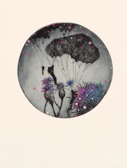 Lisa Sewards Drifting Into a Field of Memories etching hand colouring 2020
