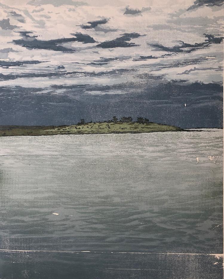 Warren Cooke Land and Sea 44 (Elizabeth Island) 56cm (H) x 45cm (W) Reduction woodcut