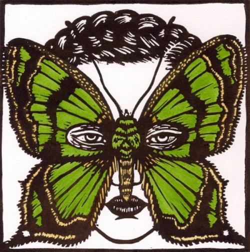 Agathia pisina Moth Mask 2009 linocut, hand coloured 15 x 15 cm