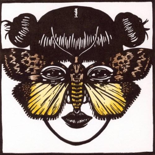 Digama marmorea Moth Mask 2009 linocut hand coloured 15 x 15 cm