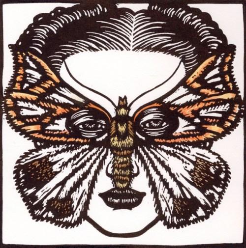 Thalaina macfarlandi Moth Mask 2009 Linocut, hand coloured 15 x 15 cm