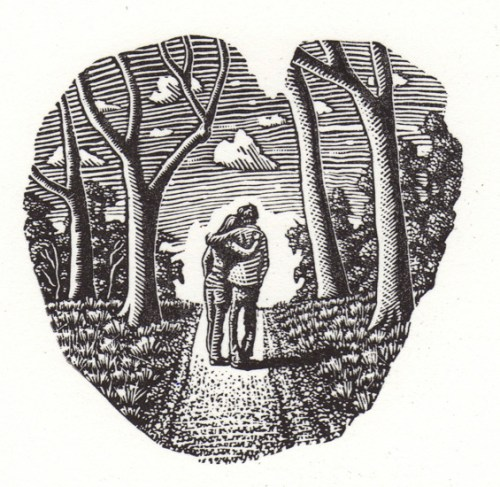 David Frazer Friends and Lovers 2014 wood engraving 6.5x6.7cm