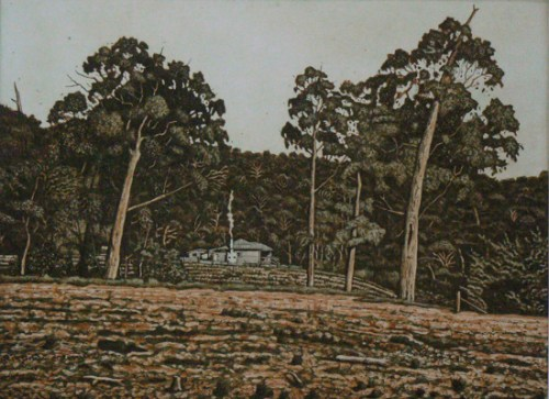 David Frazer Take me Home 2013 etching 38.5x52.5cm
