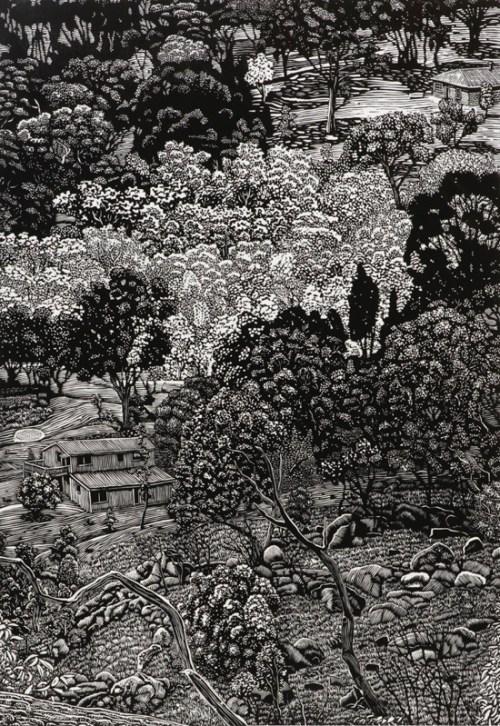David Frazer Waiting for Rain (panel 3) 2013 linocut 70x49cm