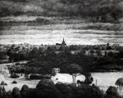Joel Wolter_View of St Marys-Cathedral, Geelong_2010_etching