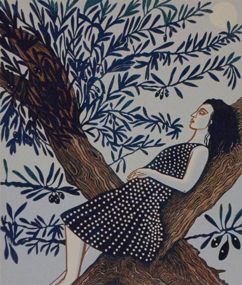 Scott_Gwen,Pomona sleeping in the olive tree,2017,reduction linocut