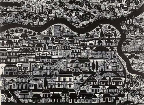 Anita-Laurence-'Where-The-Rivers-Meet'-Linocut-2017-image-57x76cm-