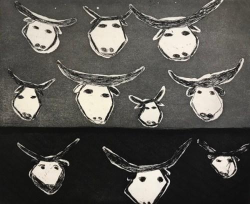 Chris BlackCat#: 268-17-7/20Jarrangini (buffalo)24.5 x 30cm (image), hard ground etching with aquatint
