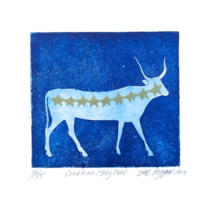 Sue Poggioli Cerulean Holy Cow Etching, aquatint, rubber stamp $150