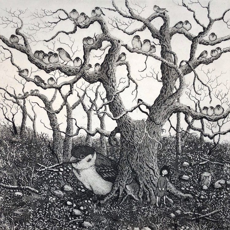 Sparrow Tree 2019 etching aquatint 20x20 Ed 25 $500 unframed.jpg