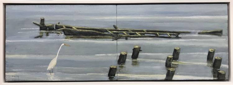 Philip Davey Great Egret Under Westgate Oil on panels (diptych) 20x59