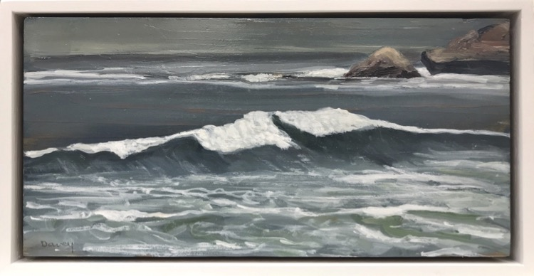 Philip Davey The Wave Oil on panel 15x30.5