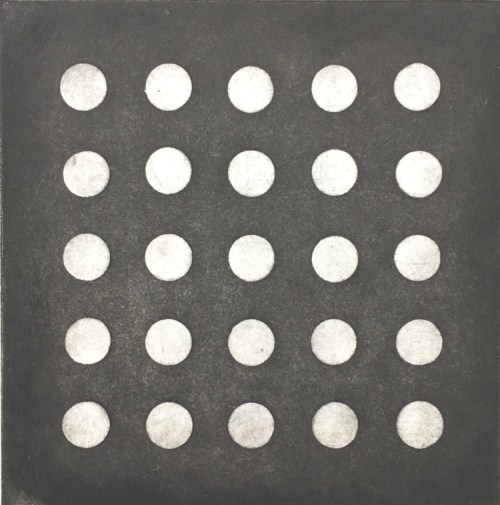 Olivia Mazzone Grid (dots), etching with aquatint, 2019, plate si