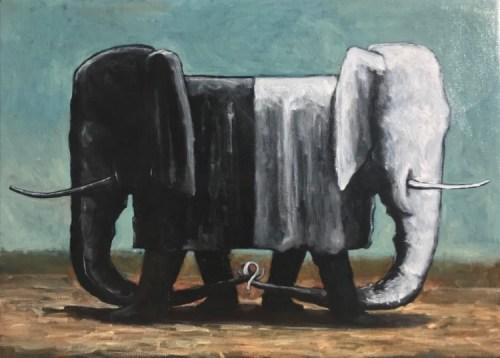Geoffrey Ricardo Forwards Backwards oil on canvas 65 x 95