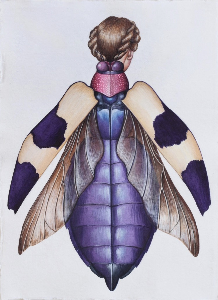 Deborah Klein Chrysochroa buqueti Beetle Woman, 2014, watercolour, 41.91 x 29.72 cm