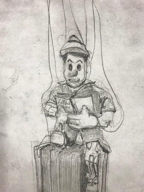 Soula Mantalvanos Pinocchio reading (detail) softgound etching