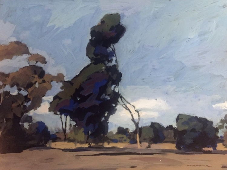 David Moore Lone Tree gouache