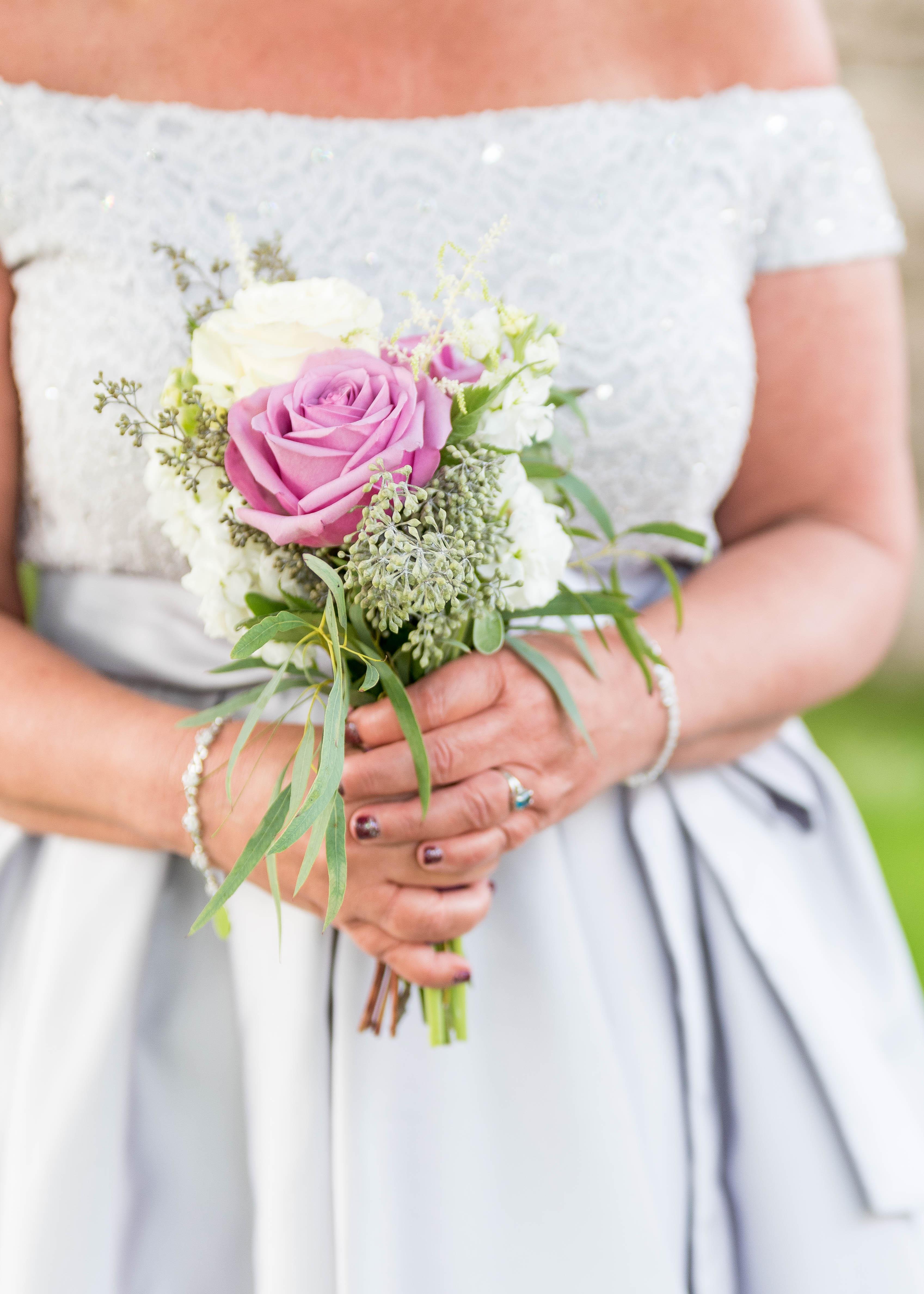 Lilac bridesmaid bouquet, simple bridesmaid bouquet, Boston wedding photographer, NH wedding photographer, wedding photographer near Gibbet Hill Groton, MA