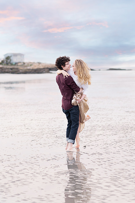 gorgeous sunset couple's engagement photos, best engagement and wedding photographer in Gloucester MA, Q Hegarty Photography Weddings & Portraits