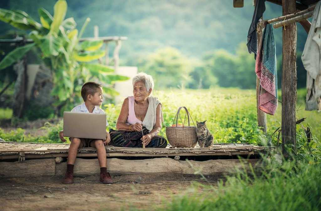 grandmother, kids, laptop