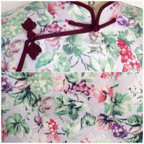 フルーツ柄の旗袍(チャイナドレス)。atelier leilei提供。