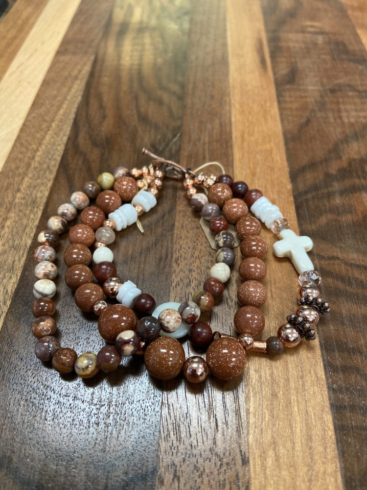 Three Strand Bracelet with Ocean Jasper, Copper Alloy, Sandstone, Moonstone and Howlite Cross with Toggle Style Clasp