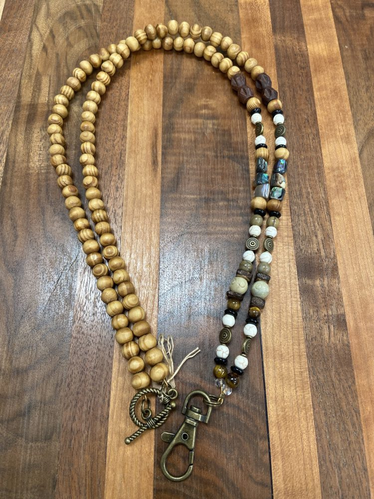 Lanyard with Olive wood, Soapstone, Howlite and Abaloni Shell