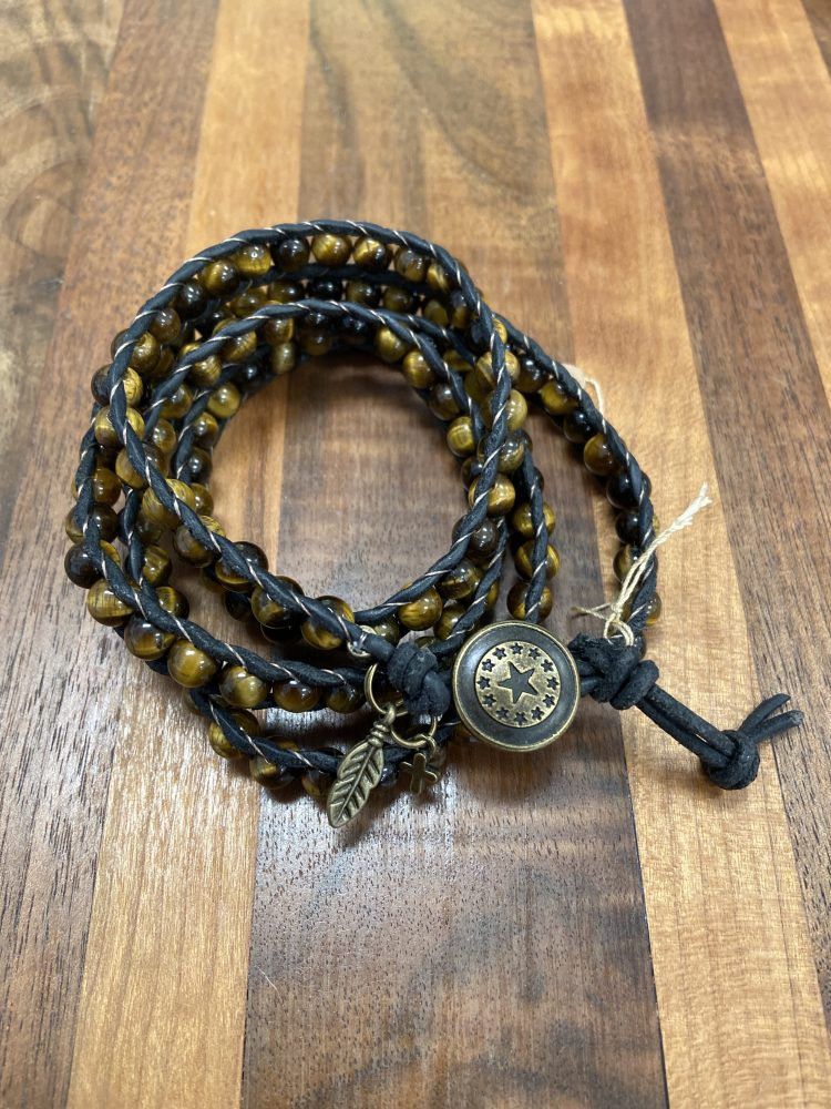 Four Wrap Leather Bracelet with Tiger's Eye Quartz on Black Matte Leather