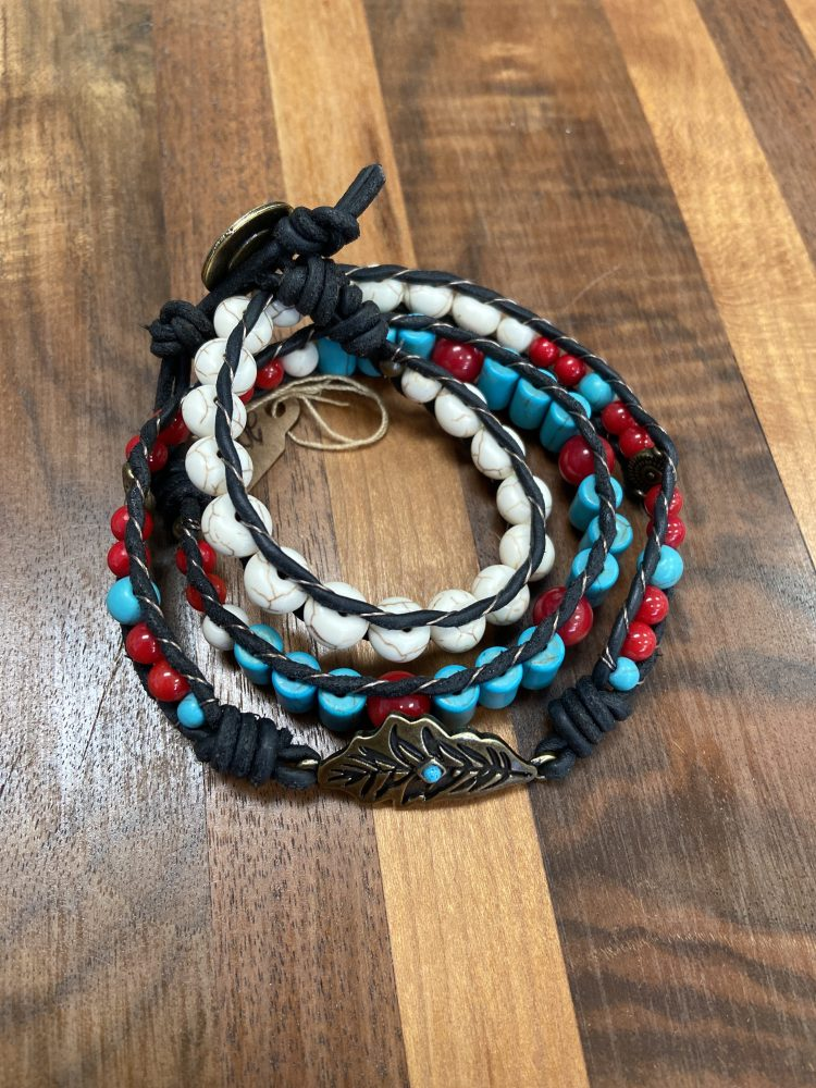 Link Three Wrap with Feather Charm set with Howlite, Turquoise Howlite, Red Bamboo Coral on Black Matte Leather