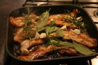 Roasted pork belly with sage and rosemary