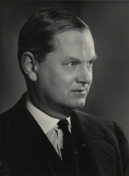 Evelyn Waugh by Madame Yevonde bromide print on card mount, 1951