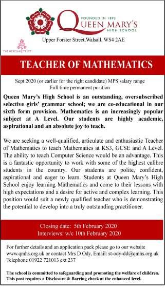 advert teacher of Maths.2020ai