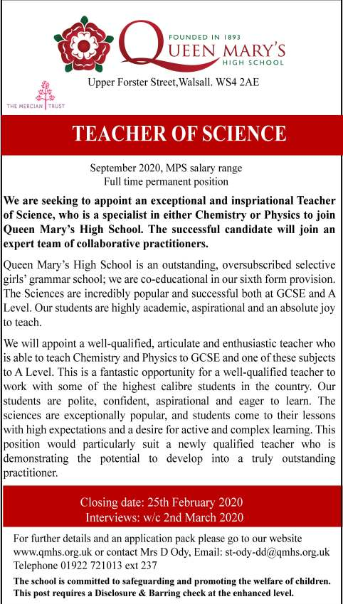 advert teacher of science 2020