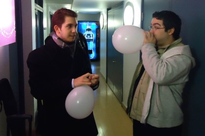 Gawain and Tatos prep balloons for the session