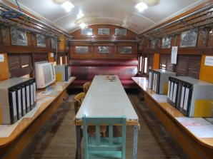 The railway carriage has been adapted as a reading room