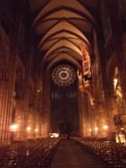 Inside Strasbourg cathedral.