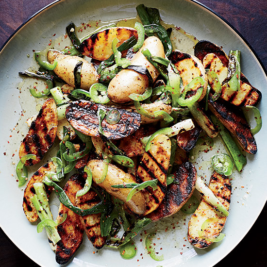 Grilled Potato Salad with Scallion Vinaigrette. Photo Credit: Christina Holmes © 2014.