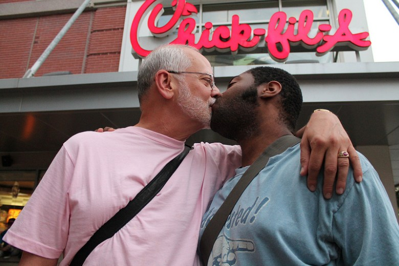 """A couple kisses during the """"National Same-Sex Kiss-In Day"""" on Aug. 3, 2012, at a Silver Spring, Md., Chick-fil-A. Photo Credit: Elvert Barnes, via Flickr. Licensed CC."""
