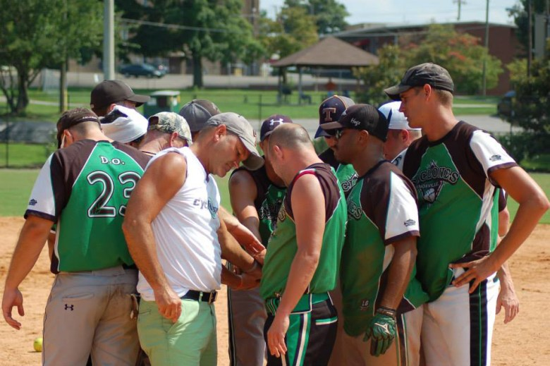 The Knoxville Cyclones huddle up before a game in tournament play. Photo Credit: Bryan Anderson