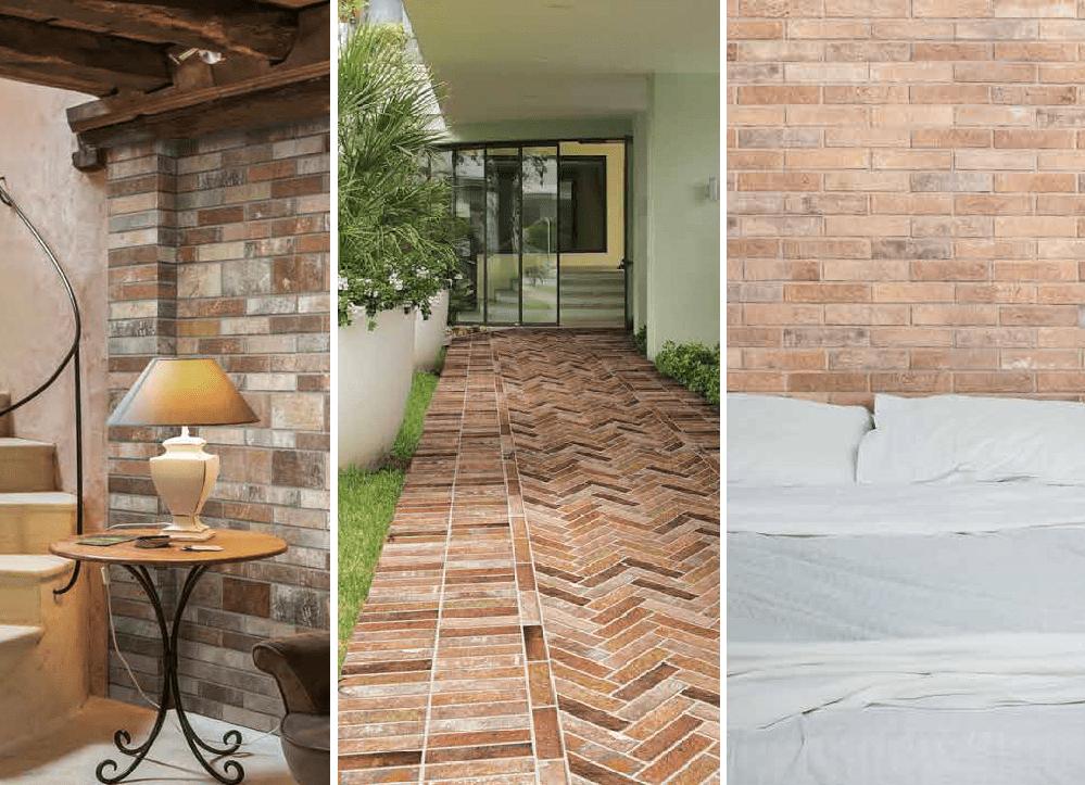using brick look porcelain tile