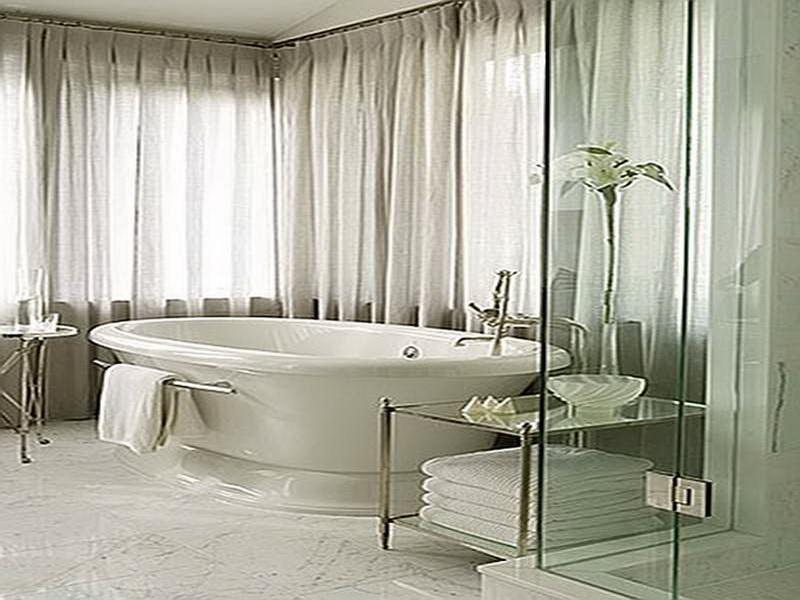 white bathroom window treatment designs