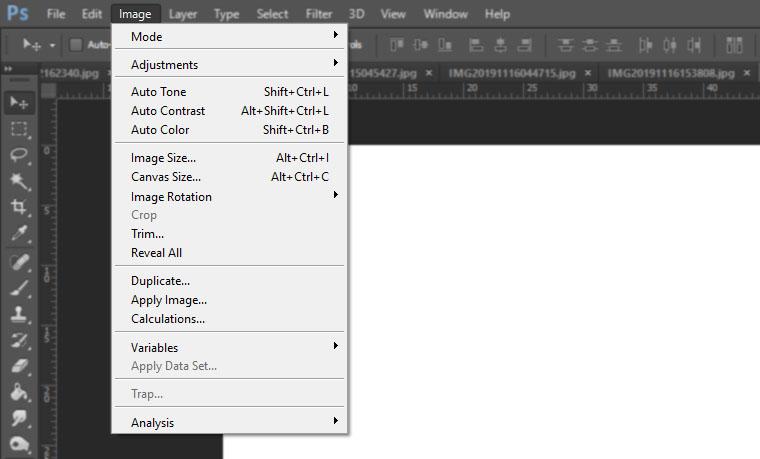 menu image photoshop