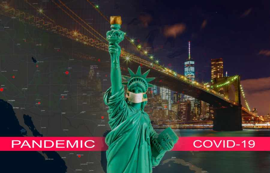 Coronavirus epidemic, word COVID-19 on Brooklyn bridge at dusk, New York City with statue of liberty