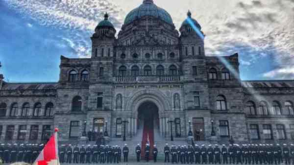 British Columbia Legislature during a ceremony to welcome the Governor General of Canada