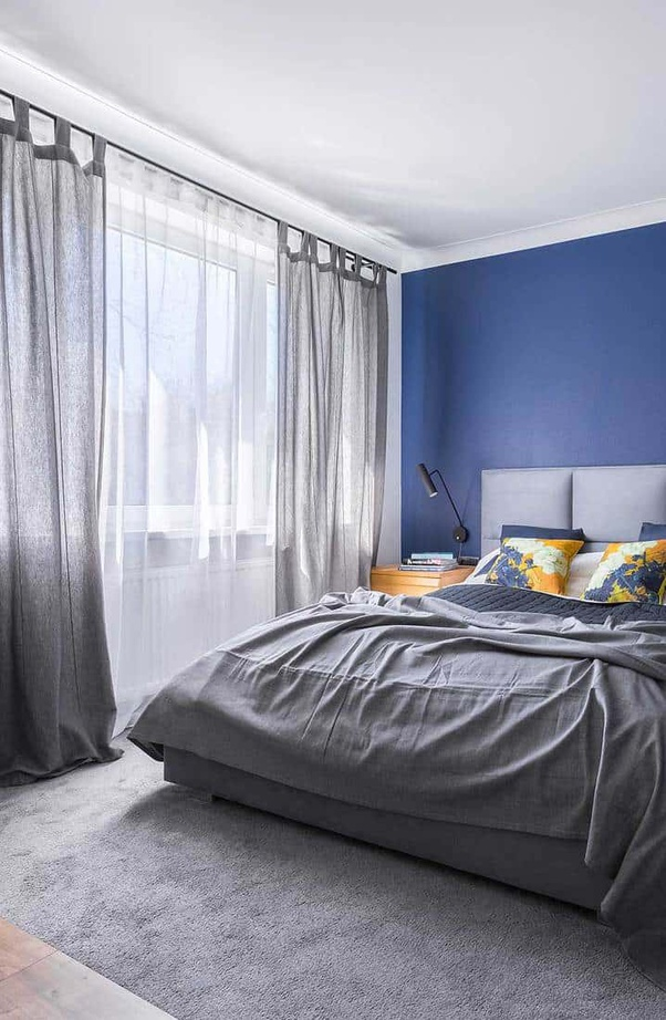 with light blue walls