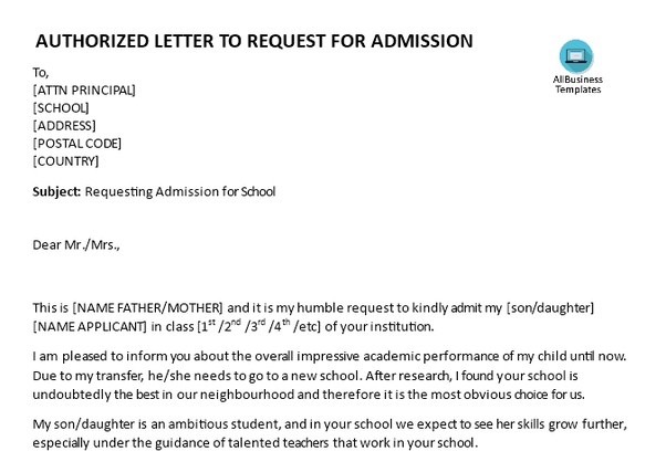 How To Write A Letter To The Principal For Admission For A